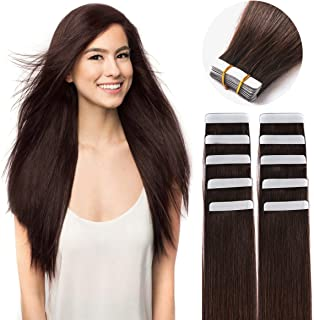 "18"" Remy Tape in Hair Extensions Human Hair 20pc 50g/pk Dark Brown #2 Skin Weft Glue in Hair Extension"