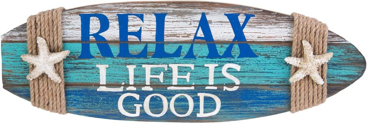 Beachcombers Relax Life is In a popularity Good Opening large release sale Surfboard Plaque W Shape Coastal
