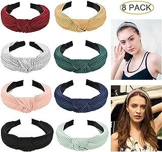 Hartop 8 Pack Wide Headbands Knot Turban Headband Hair Band Elastic Plain Fashion Hair Accessories for Women and Girls