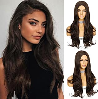 Sapphirewigs Long Brown Wig Wavy Hair Wigs for Women Natural Looking Middle Part Wigs Synthetic Heat Resistant Fiber Daily...