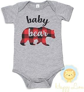 Happy Lion Clothing - Baby Bear Red Buffalo Plaid Bodysuit, Baby Bear Lumberjack New Baby Gift