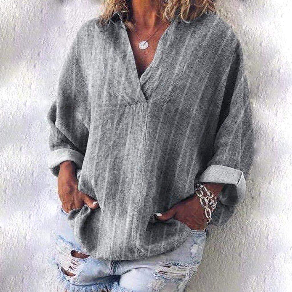 Estampado Camiseta Blusa Tops de Manga Larga,🍒 Madeuf 🍒Camisa de Lino Suelto para Mujer Tallas Grandes Blusa Casual V Cuello Camiseta Larga Mujeres Verano Basica Camiseta Tops: Amazon.es: Instrumentos musicales