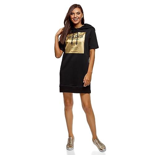 cfd4cee6db oodji Ultra Mujer Vestido de Algodón con Capucha
