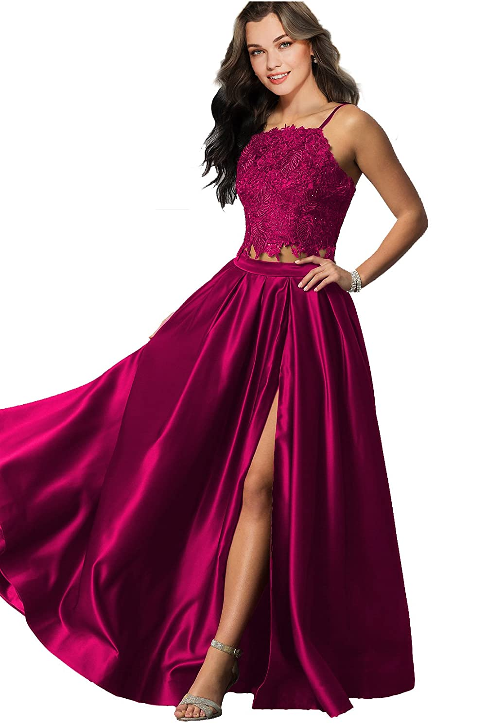 Lily Wedding Womens Halter 2 Piece Prom Dresses 2019 Long Sleeveless Satin Evening Formal Gown with Slit