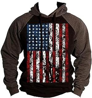American Flag Men's Pullover Hoodie Charcoal/Black S-2XL