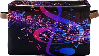 Alarge - Panier de rangement coloré - Motif notes de musique abstraites - Panier à linge pliable - Organiseur de jouets - ...