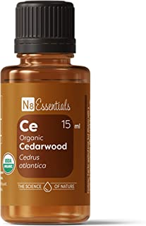 N8 Essentials USDA Certified Organic Cedarwood Essential Oil for Yoga, Respiratory Support and Tension Relief, 15 ml