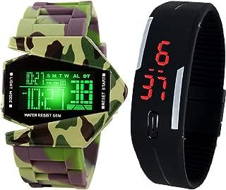 Pappi-Haunt LED Military Cool Metal Body Multifunction Noctilucent Plane Design Digital Smart Watch for Boys, Men & Digital Silicone Black Led Band Wrist Watch
