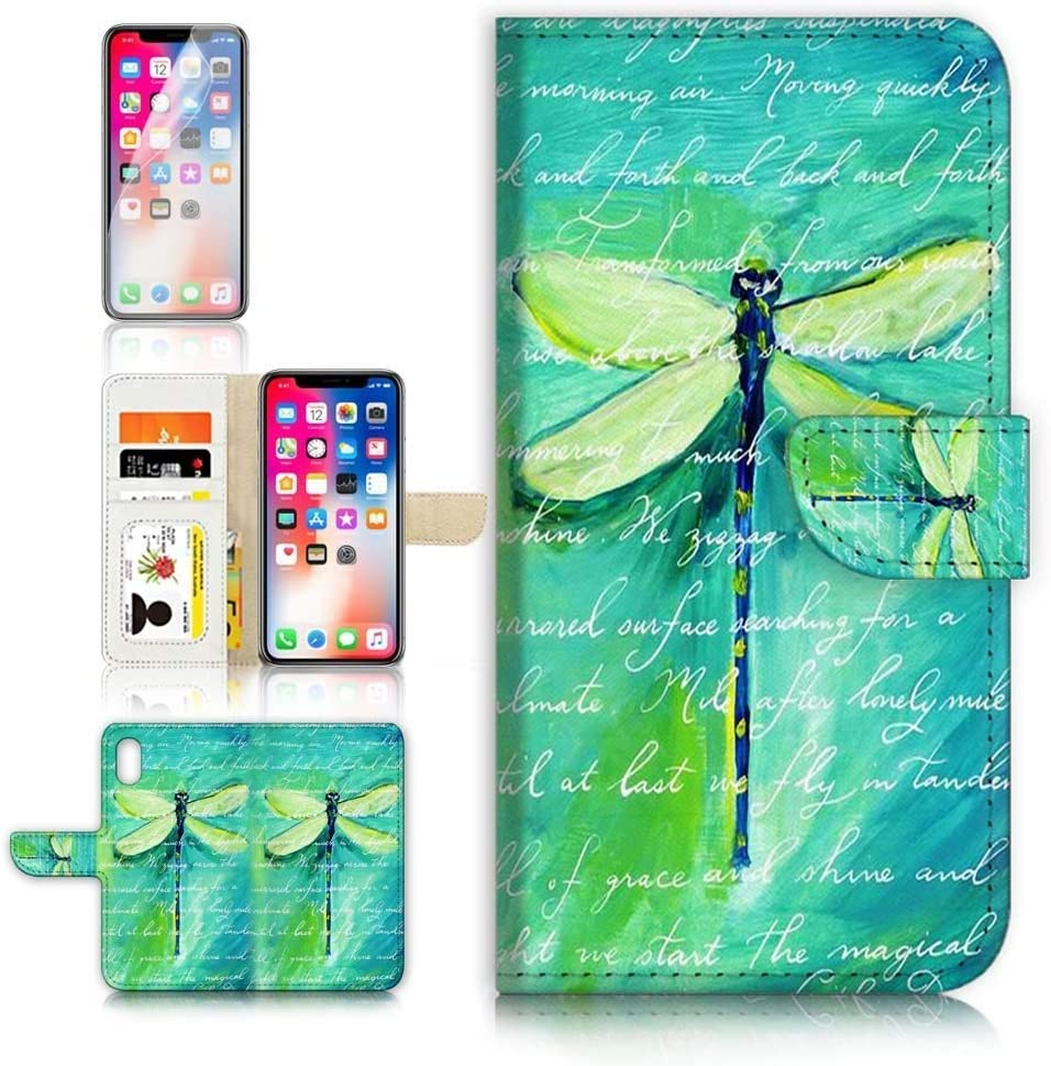 (for iPhone Xs, iPhone X) Flip Wallet Case Cover & Screen Protector Bundle - A4215 Art Dragonfly