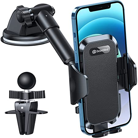 DesertWest Car Phone Mount, [All-Round Protection] Cell Phone Holder for Car Dashboard Windshield Air Vent, Long Arm Compatible with iPhone 12 SE 11 Pro Max XR XS X Samsung Galaxy Note 20 S21 S10 S9