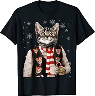 Hipster Cat Wearing Pizza Cat Sweater Funny Christmas TShirt