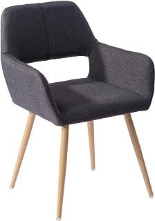 Mueble Cosy - Silla de Oficina ergonómica para niños y sin reposabrazos, Tela Negra, Patas de Metal con Acabado en Madera, 56 x 56 x 78 cm