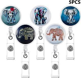 5 Pieces Elephant Badge Reels Elephant Badge Holder Clip Elephant Retractable ID Card Badge Cute Name ID Card Badge Reel with Clip for Nurse Teacher Student