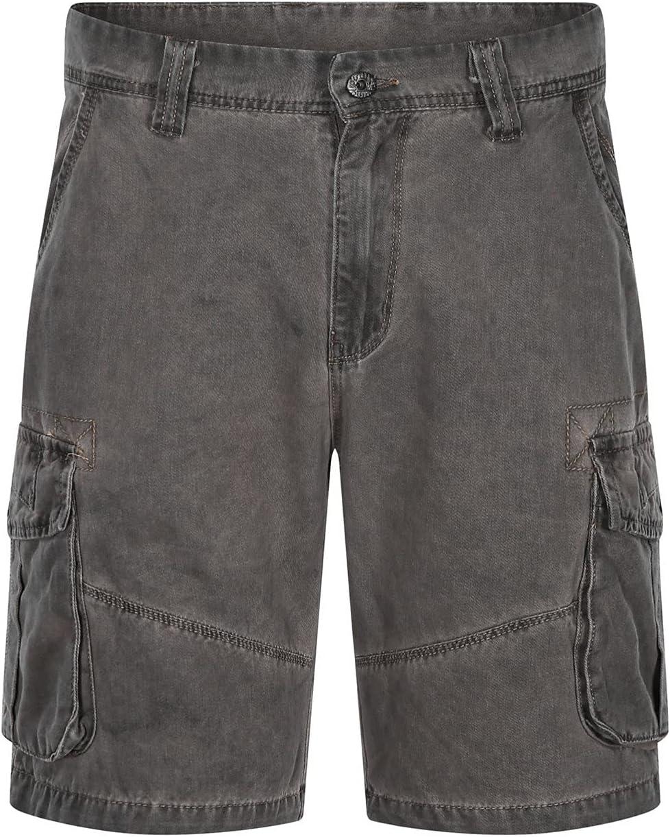 Men's Cargo Denim Shorts Multi Pockets Loose Fit Jean Short Summer Cotton Straight Leg Outdoor Casual Jeans Shorts (Gray,38)