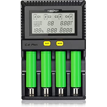 18650 Battery Charger,Miboxer 4 Bay Smart Universal Intelligent Battery Charger for NiMH NiCd A AA AAA Li-ion LiFePO4 IMR 10440 14500 16340 18650 RCR123 26650 21700 Batteries Charger