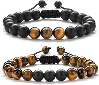 Men Women 8mm Tiger Eye Stone Beads Bracelet Braided Rope Natural Stone Yoga Bracelet Bangle-21018