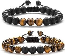 Hamoery Men Women 8mm Tiger Eye Stone Beads Bracelet Braided Rope Natural Stone Yoga Bracelet Bangle-21018