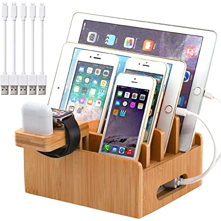 Pezin & Hulin Bamboo Charging Stations for Multiple Devices, Upgrade Desk Docking Station Organizer for Cell Phones, Tablet, AirPods, iWatch Stand (Includes 5 Cables BUT NO Power Supply Charger)