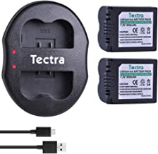 Tectra 2 Pack CGA-S006 DMW-BMA7 Replacement Battery and Dual USB Charger Compatible with Panasonic Lumix DMC-FZ7, DMC-FZ8, DMC-FZ18, DMC-FZ28, DMC-FZ30, DMC-FZ35, DMC-FZ38, DMC-FZ50 Digital Camera