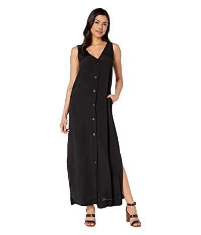 American Rose Vivian Sleeveless Button Up Dress (Black) Women