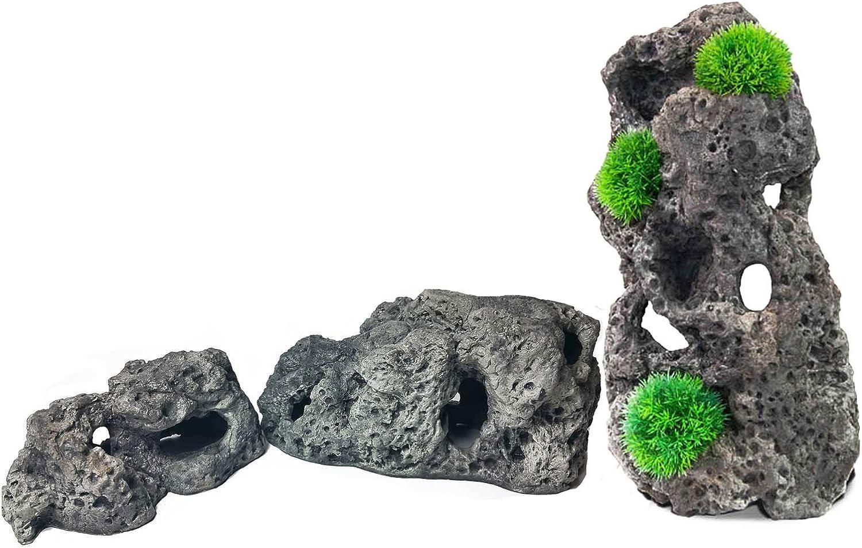 Aqua Maniac Limestone Cave Rock Fish Hideaway for Fish Tanks BUNDLE, Includes 3 Different Sizes (25.5 x 14.5 x 11.5cm, 35.5 x16x 17cm, 46x23x19.5 cm)