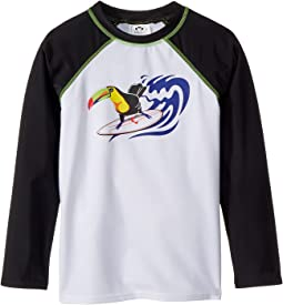 UPF 50+ Surf Parrot Long Sleeve Rashguard (Toddler/Little Kids/Big Kids)