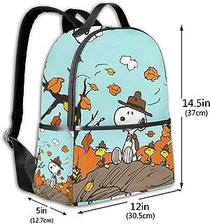 Classic School Backpack Autumn Snoopy Unisex College Schoolbag Travel Bookbag Black