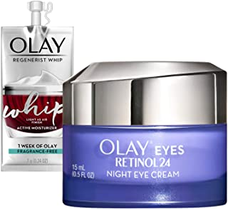 Olay Regenerist Retinol Eye Cream, Retinol 24 Night Eye Cream, 0.5oz + Whip Face Moisturizer Travel/Trial Size Gift Set, Fragrance Free
