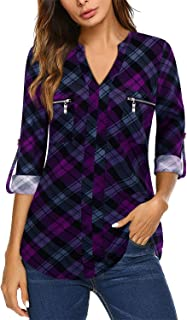 Bulotus Womens 3/4 Sleeve Tunic Tops V Neck Business Casual Blouses with Zipper Chest Pocket