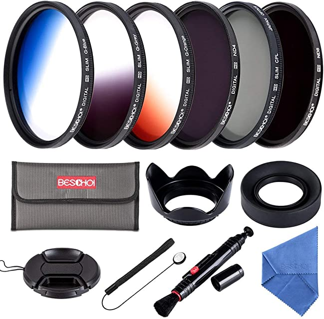 Beschoi - 58MM Set de Filtros 13 Piezas (CPL ND4 ND8 + Ultra Delgado Graduado Color Naranja Azul Gris + Accesorios) para Lentes con 58MM Filtros para Canon EOS 750D 760D 650D 600D 550D 500D 450D 400D