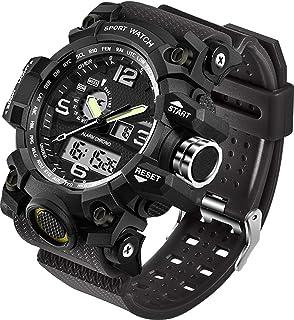 ساعتهای مردانه ورزشی نظامی الکترونیک ضد آب ضد قفل LED دیجیتال آنالوگ دوگانه ساعت دریایی ارتش آزاد دریایی تاکتیکی