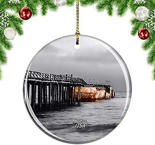 Weekino America USA Beach Aptos Christmas Xmas Tree Ornament Decoration Hanging Pendant Decor City Travel Souvenir Collect...