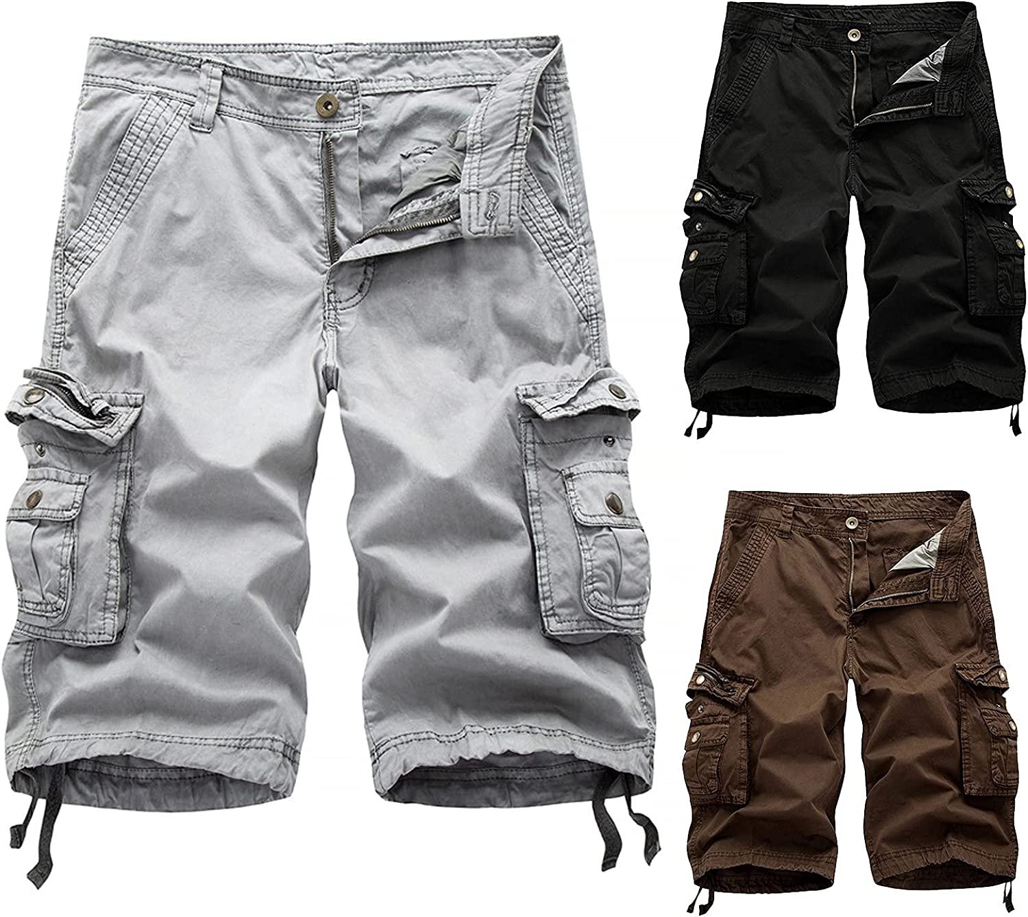 MODOQO Men's Relaxed Fit Multi Pockets Big and Tall Size Pure Color Outdoor Cargo Shorts