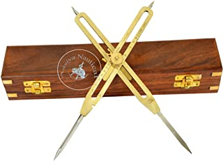 """Artist Proportional Scale Divider Drawing Tool Professional 9"""" Long Solid Brass with Heavy Duty Steel Point with with Wood..."""