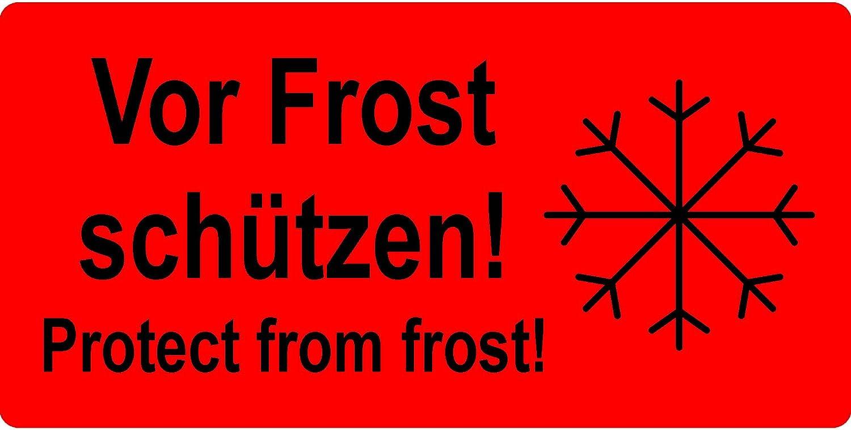 Labelident Versandetikett - Vor Frost schützen  Protect from frost  - 150 x 100 mm, 500 Aufkleber auf Rolle, Papier leuchtrot, selbstklebend B07BGFYRB6  | Starke Hitze- und Abnutzungsbeständigkeit