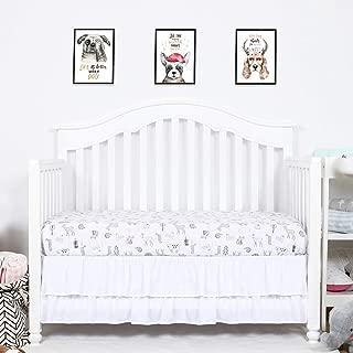 TILLYOU Crib Skirt Dust Ruffle Double Layer, Microfiber Nursery Crib Toddler Bedding Skirts for Baby Boys Girls, 14
