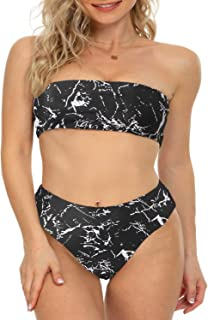 Best Womens Bandeau Two Piece Bikini Swimsuits Strapless Top with High Cut Bottom Bathing Suit Review