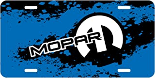 iPick Image Mopar Motor Sports Blue Graphic Aluminum License Plate for Dodge Jeep RAM Chrysler Cars