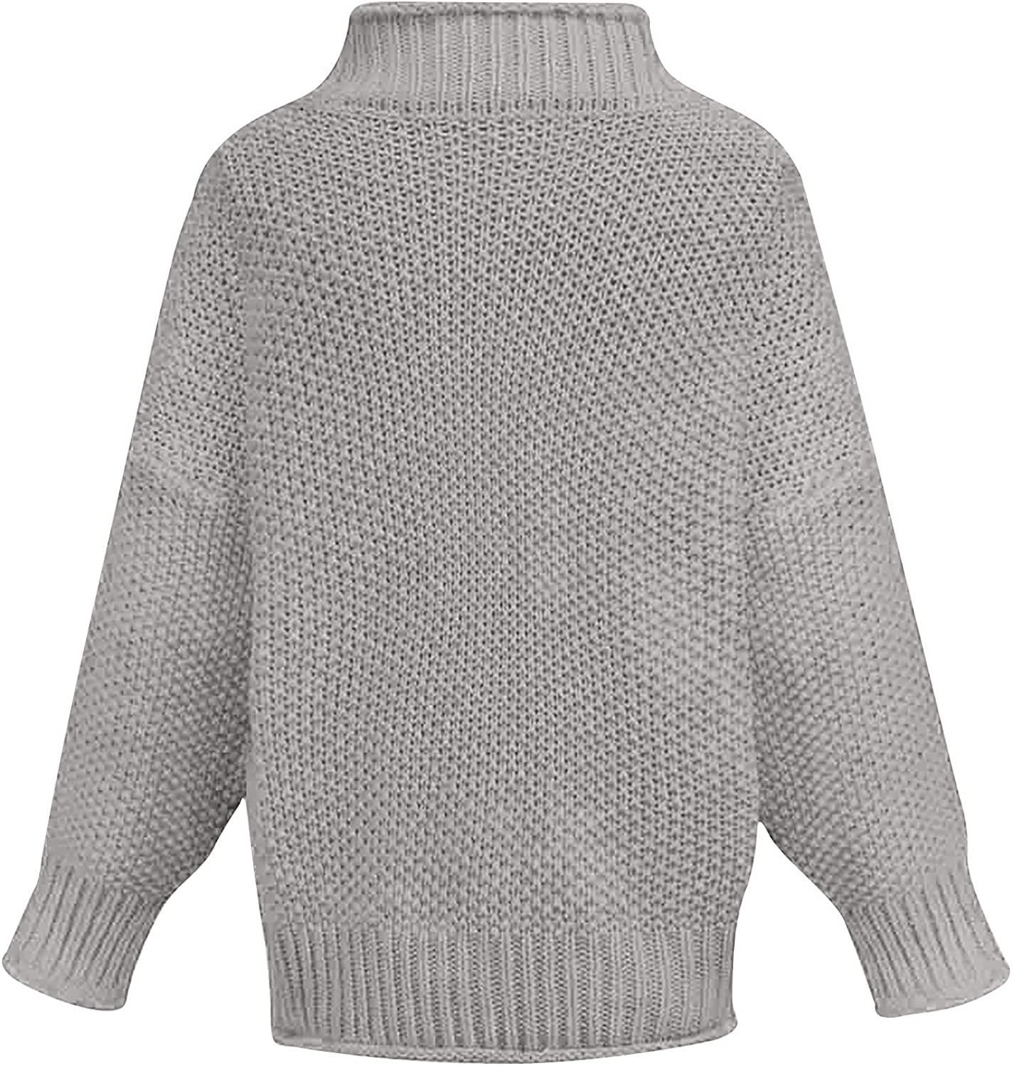 5665 Womens Chunky Knitted Mock Neck Sweater, Long Sleeve Fashion Warm Blouse Shirts Casual Sweatshirts Tunic Tops Pullover