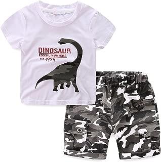 LittleSpring Little Boys Summer 2Pcs Sets Dinosaur T-shirt and Camo Short Set 2-6 Years
