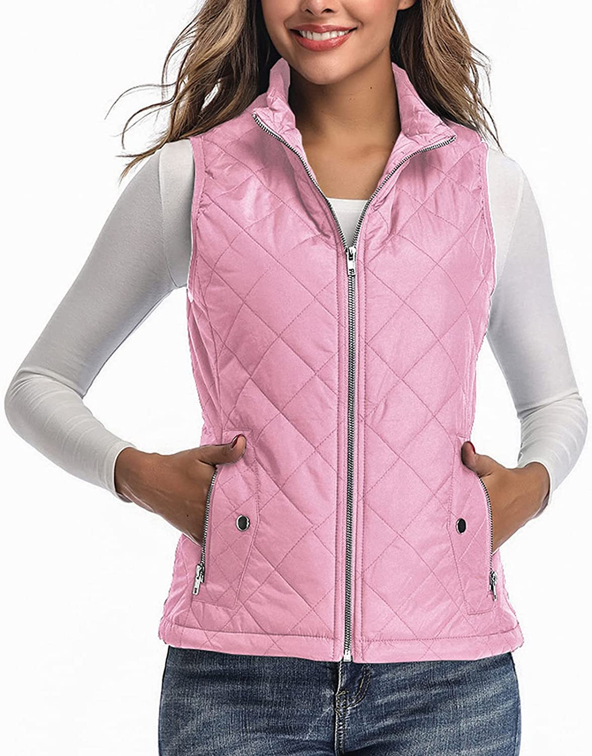High material Women's Vest - Stand Collar for Quilted Zip Wom Lightweight unisex