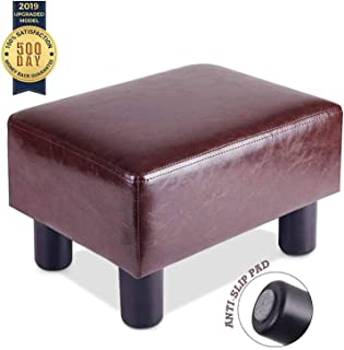 FOUR UNCLES 16'' PU Leather Foot Stool - Small Footrest Under Desk, Modern Rectangular Ottoman Footstool Chair Seat, Brown