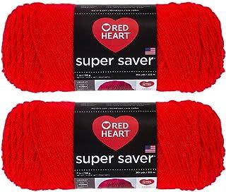 Bulk Buy: Red Heart Super Saver (2-Pack) (Hot Red, 7 oz Each Skein)
