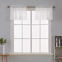 ستائر نافذة قصيرة من ديكونوفو مصنوعة من القطن الصناعي قطرة المطر من قماش الجاكار، مقاس 132 سم × 45 سم، لون أبيض
