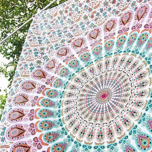 Aakriti Gallery Tapestry Sun Moon Starry Mandala 100% Cotton (Pink)