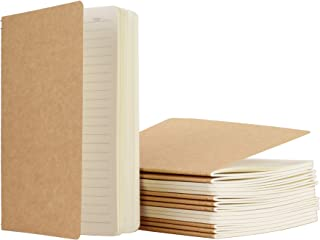 TWONE 15 Packs Kraft Notebook Ruled Pages A5 Kraft Brown Cover Pocket Journal Notebooks for Traveler Diary Note-Taking Ruled 60 Pages/30 Sheets (5.5