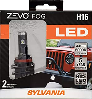 SYLVANIA - H16 ZEVO FOG LED - Premium Quality Plug and Play LED Fog Lights, Bright White Light Output, Matches HID & LED Headlight Lighting Systems, Added Style & Performance (Contains 2 Bulbs)