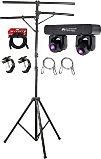 American DJ Inno Pocket Spot Twins 2 Moving Head Yoke Lights+Stand+Cables+Clamps