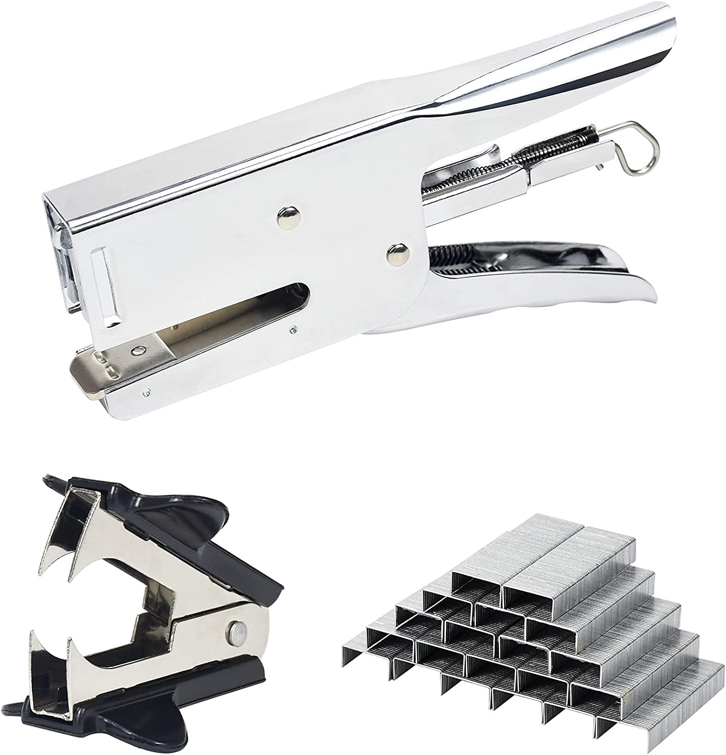 """Weibo Packaging Plier Stapler, Uses 26 and 24 Type 1/4""""- 5/16"""" Staples, 40-45 Sheet Capacity, Metal staplers for Desk, Includes 2000 Staples and Staple Remover (Sliver) : Office Products"""