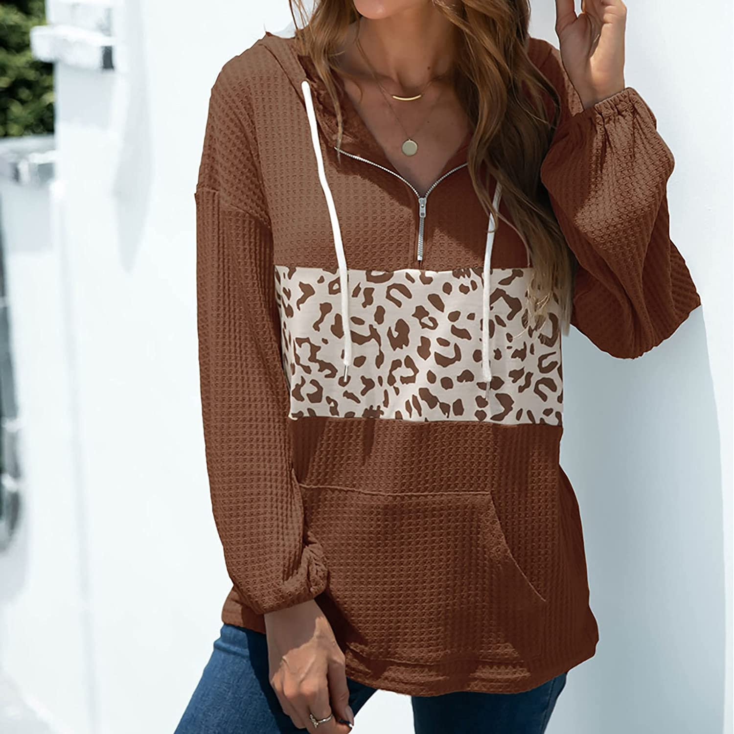 GERsome Women's Hoodies 1/4 Zipper V Neck Long Sleeve Leopard Stitching Sweatshirts with Pockets Fashion Casual Tops Blouse Coffee